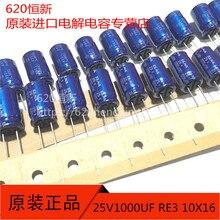 20pcs ใหม่ ELNA RE3 1000UF 25V 10X16 มม.Electrolytic Capacitor 1000 UF/25 V สีฟ้า Robe 1000UF 25V re3 25V1000UF