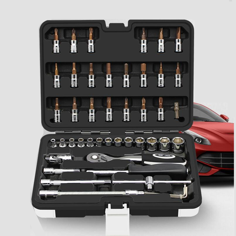 46pcs 1/4-Inch Socket Set Car Repair Tool Ratchet Wrench Spanner For Bicycle Motorcycle Repairing Common