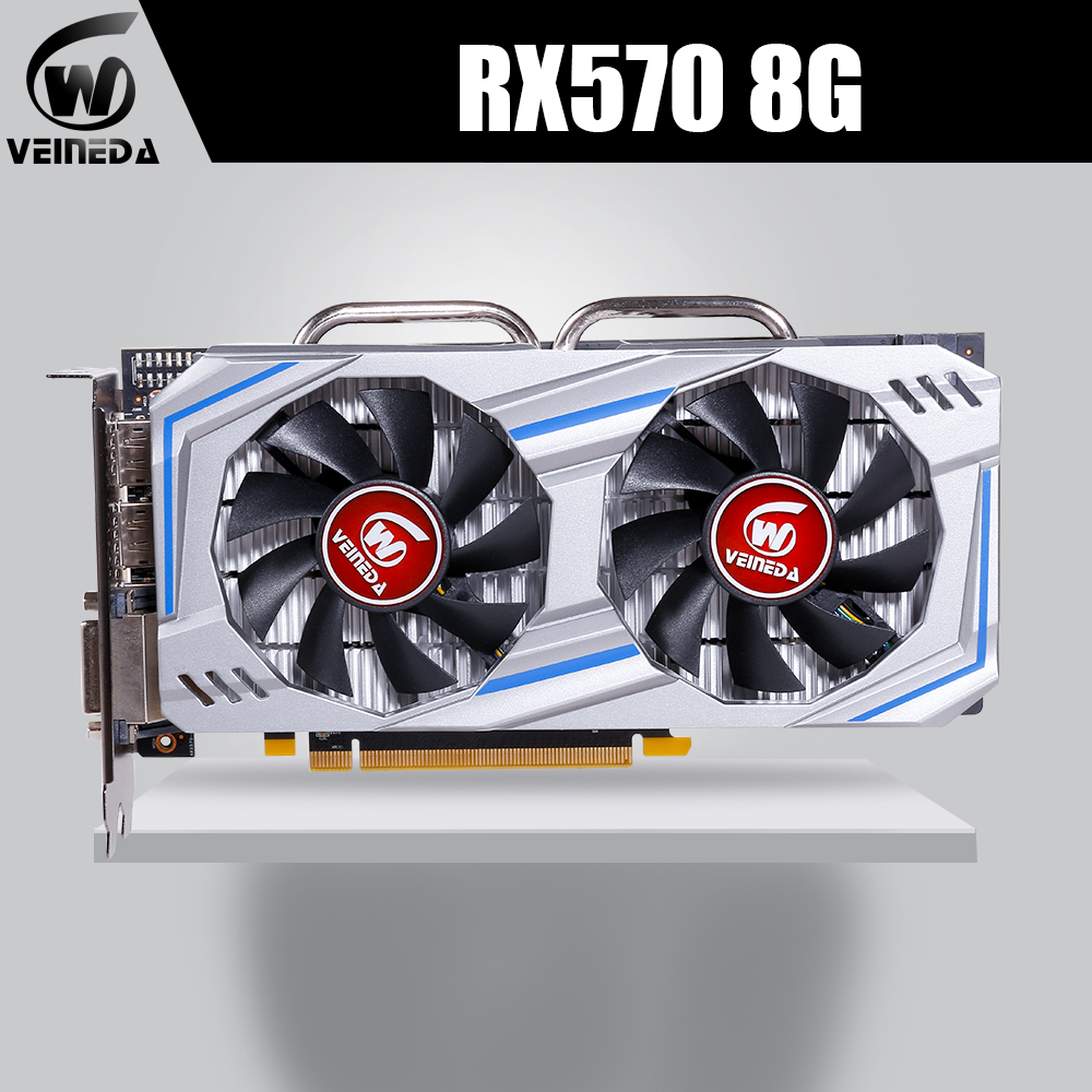 Veineda Graphics Card RX 570 8GB 256Bit GDDR5 1244/7000MHz video card for nVIDIA Geforce Games rx 570 8gb image