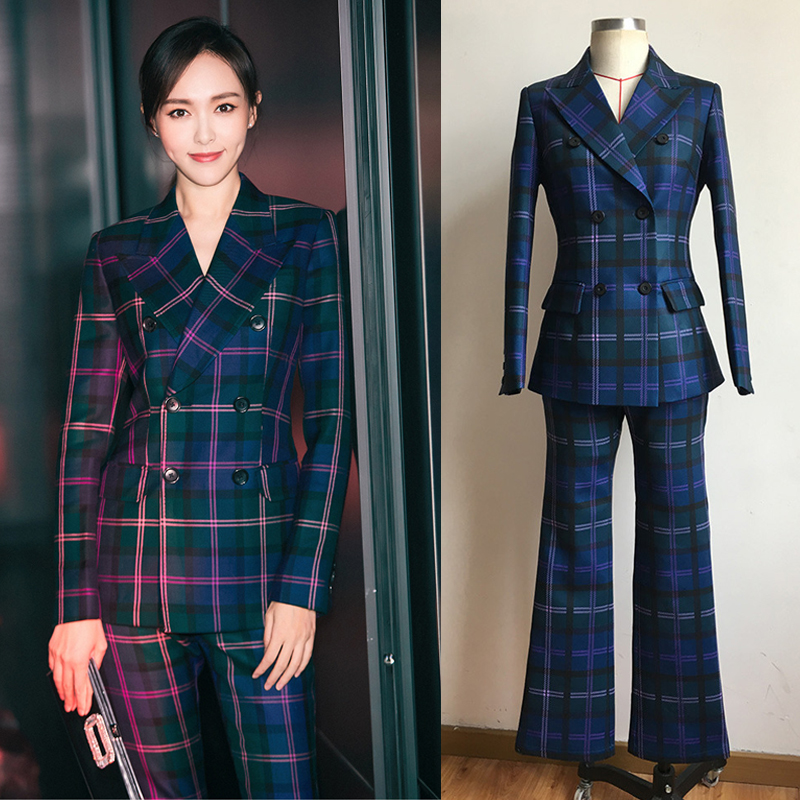 S-3XL high quality new fashion plaid print Slim thick fabric suit double-breasted shirt flared trousers women's suit 43