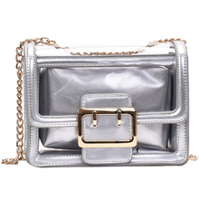 Women Shoulder Bag Chain Fashion Women Messenger Bag Silver Youth Small Square Bag New Ladies Work Bag PU Leather fashionable women s pu cover opening messenger bag tote bag w chain silver