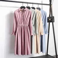 Nuevo Otoño Invierno Vestidos de pana Vestidos sólidos Mujer Vintage elásticos Vestidos de un solo pecho Vestido de manga larga de cuello alto