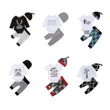 Winter Autumn Spring Newborn Toddler Infant Baby Boy Girl Long Sleeve Tops Long Pants Hat 3PCS Casual Outfits Set Clothes стоимость
