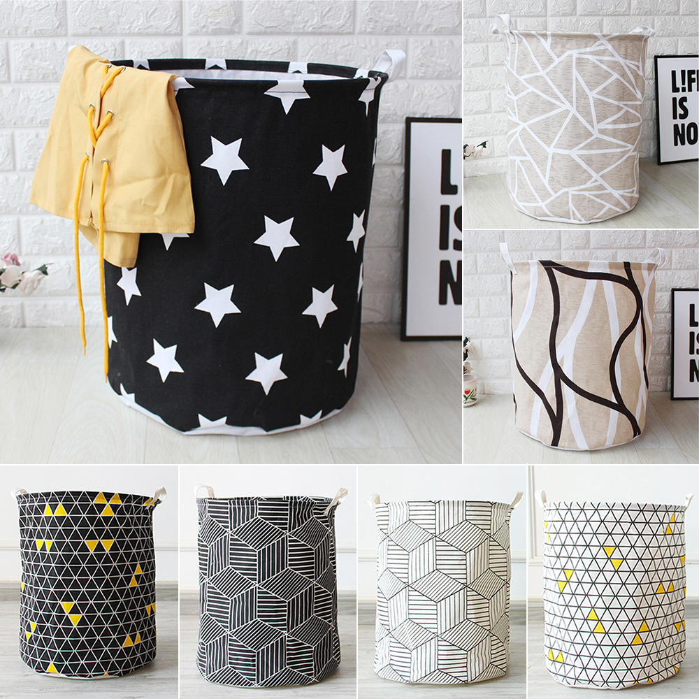 1pc Geometry Printed Laundry Basket Made Of Ramie Cotton Fabric Suitable For Room Style