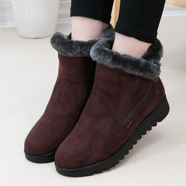 الثلوج النساء الشتاء الدافئة الفراء السيدات البريدي منصة جلد الغزال إسفين الأزياء الكاحل التمهيد الإناث الراحة عارضة الأحذية زائد الحجم