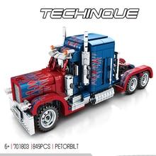 цена на Legoing Technic Series Creator Pull Back Car Compatible Movie Transformation Optimus Prime Truck Model Building Blocks Kid's Toy