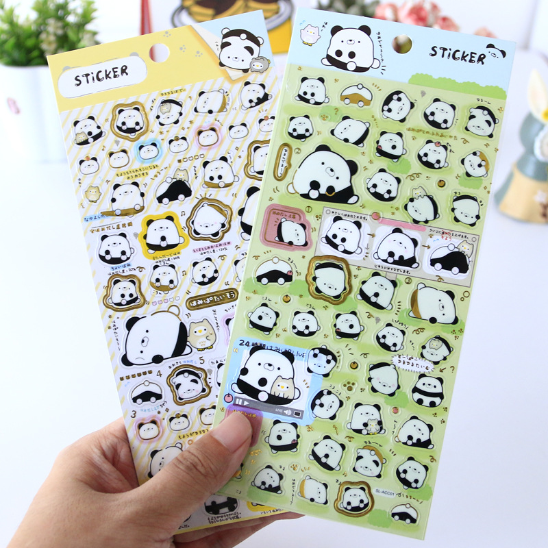 Creative Planar Kawaii Panda Gilding Decorative Stickers Adhesive Stickers Scrapbooking DIY Diary Stationery Stickers Gift