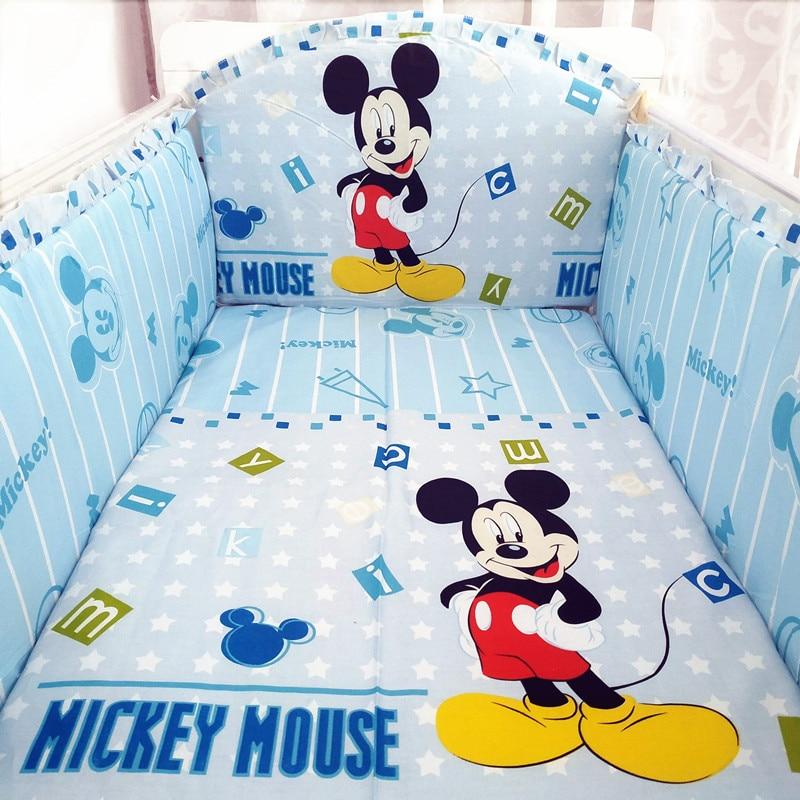 6pcs Cartoon Thick Cot Protector Bumpers Luxury Cotton Linen Baby Bedding Set Soft Cotton Crib Sets  (4bumper+sheet+pillowcase)