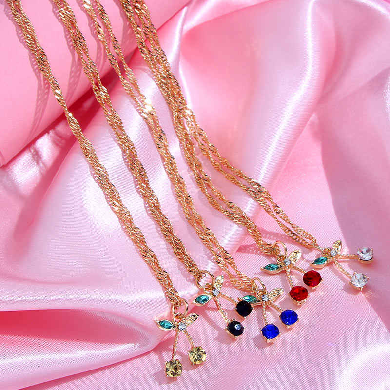 Flatfoosie 新ファッション桜のペンダントネックレスゴールドシルバーカラーツイストチェーンネックレス甘いかわいいフルーツパーティージュエリー