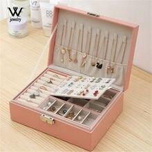 Nós nova caixa de jóias de couro de alta capacidade organizador de jóias de viagem multifuncional colar brinco caixa de armazenamento anel presentes das mulheres
