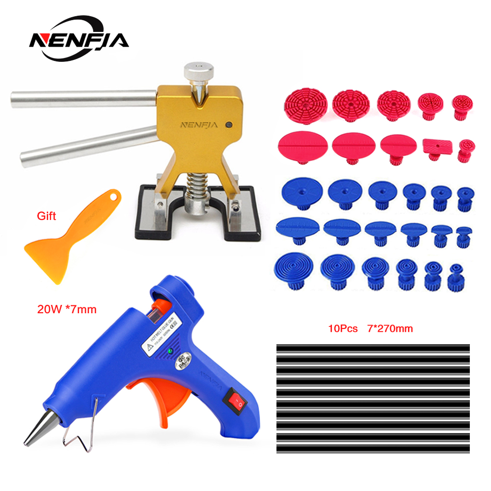 NENFIX Tools Paintless Dent Repair Tools Dent Repair Kit Car Dent Puller With Glue Puller Tabs Removal Kits For Vehicle Car Auto
