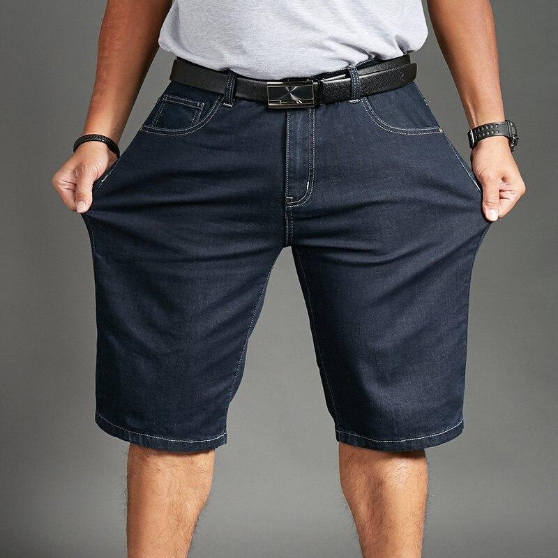 Летние мужские эластичные шорты, джинсы больших размеров, короткие, большие размеры 32 42, 44, 46, 48, большие и высокие джинсовые мужские шорты Джинсы      АлиЭкспресс