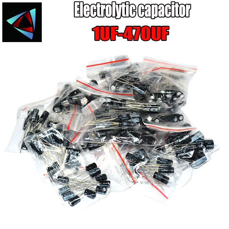 120pcs 12 Value Kit 1uF-470uF Electrolytic Capacitor Assortment Set Pack 1UF 2.2UF 3.3UF 4.7UF 10UF 22UF 33UF 47UF 100UF 220UF