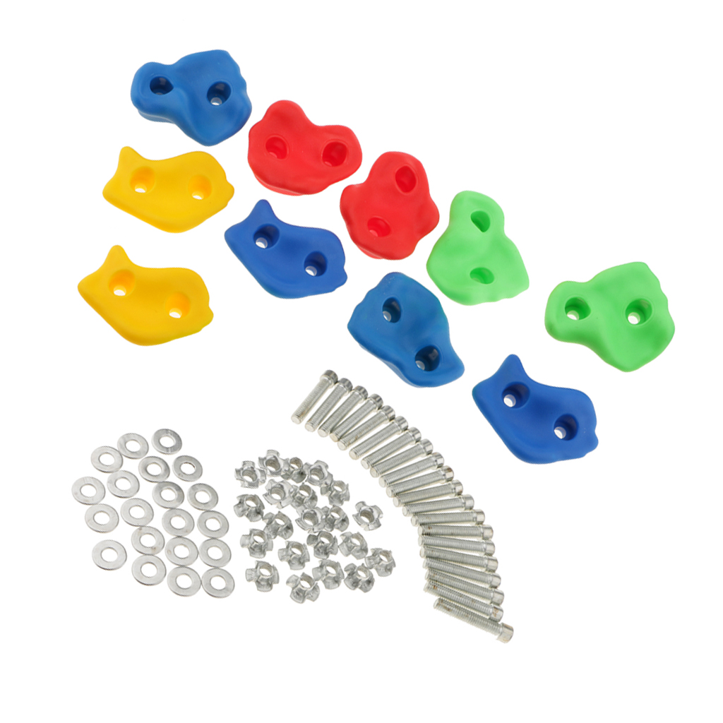 10Pcs Climbing Frame Mixed Color Rock Climbing Wall Stones Hand Feet Holds Grip Hardware Kits Children Kids Toys- Small Size