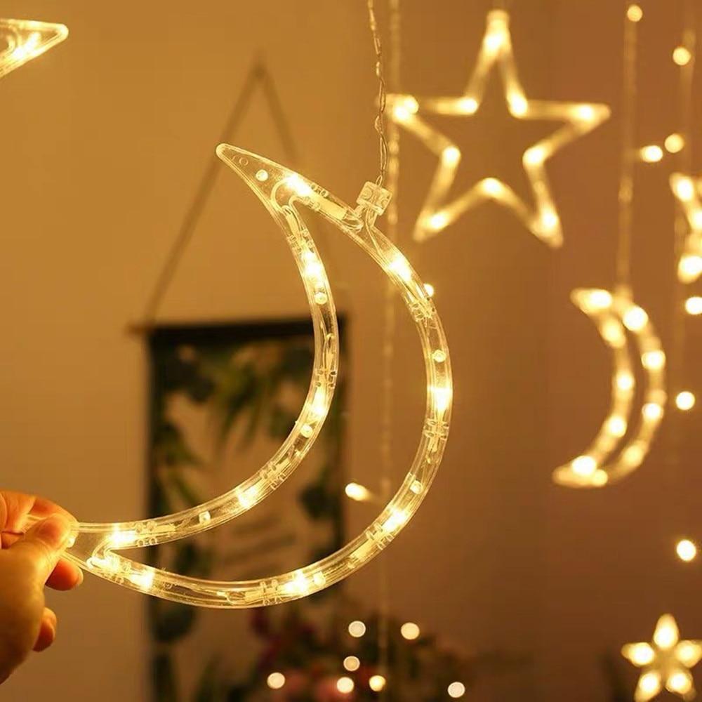 Eid Mubarak Ramadan Star Moon Led Lights Garland Curtain Strip Decor Hajj Ramadan Kareem Decoration Happy Eid Mubarak Islam Gift