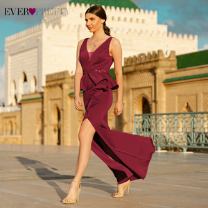 Image 5 - Sexy Burgundy Evening Dresses Long Ever Pretty Beaded Mermaid Double V Neck Side Split Formal Evening Gowns Robe De Soiree 2020