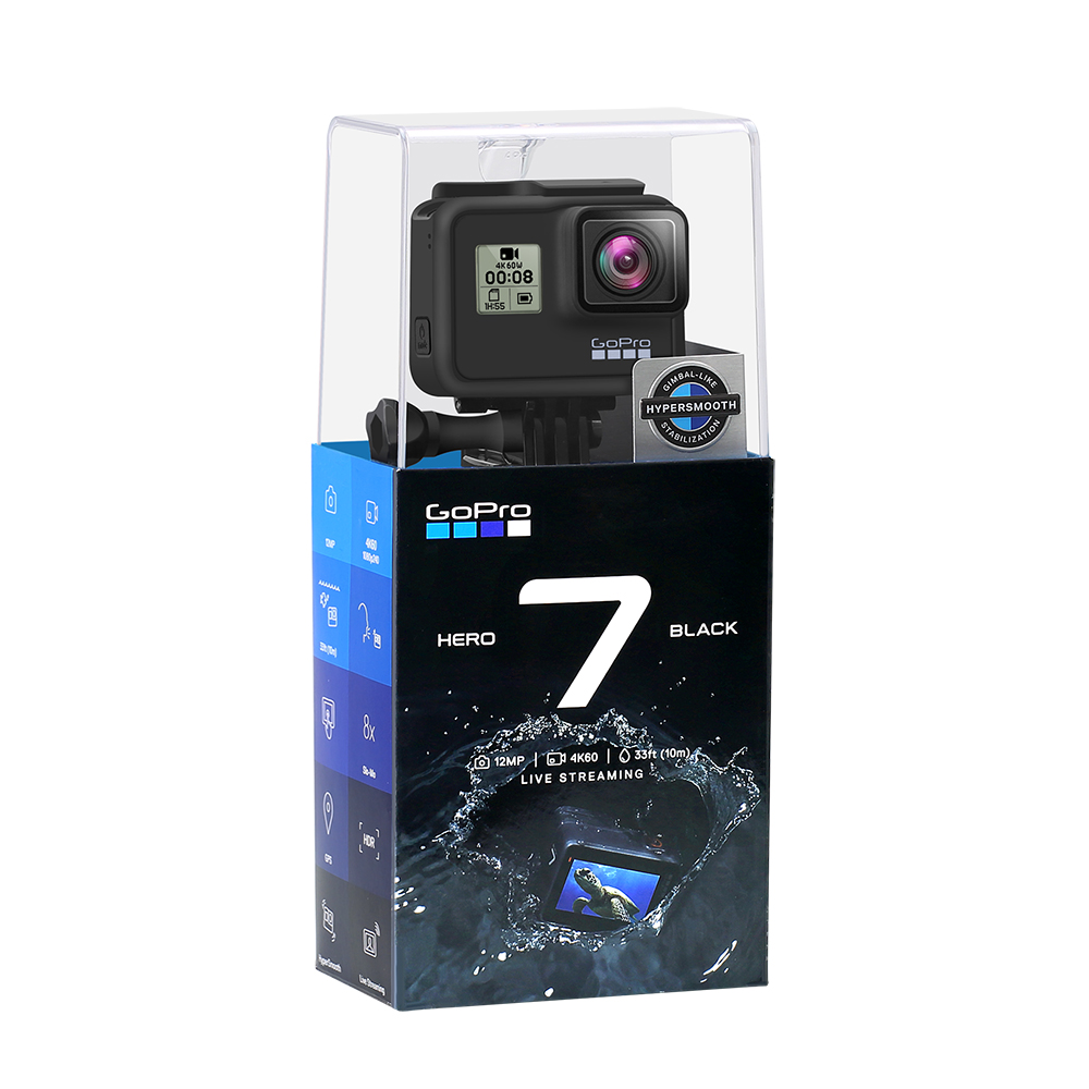 GoPro HERO 7 Black Waterproof Action Camera with Touch Screen Sports Cam Go Pro HERO 7 12MP Photos Live Streaming Stabilization 6