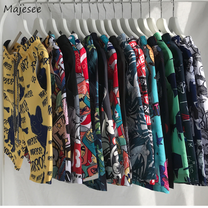 Men Casual Shorts Printed Summer Loose Chic Knee Length Plus Size 4XL Mens Korean Style Harajuku Quick Drying Couples Ulzzang