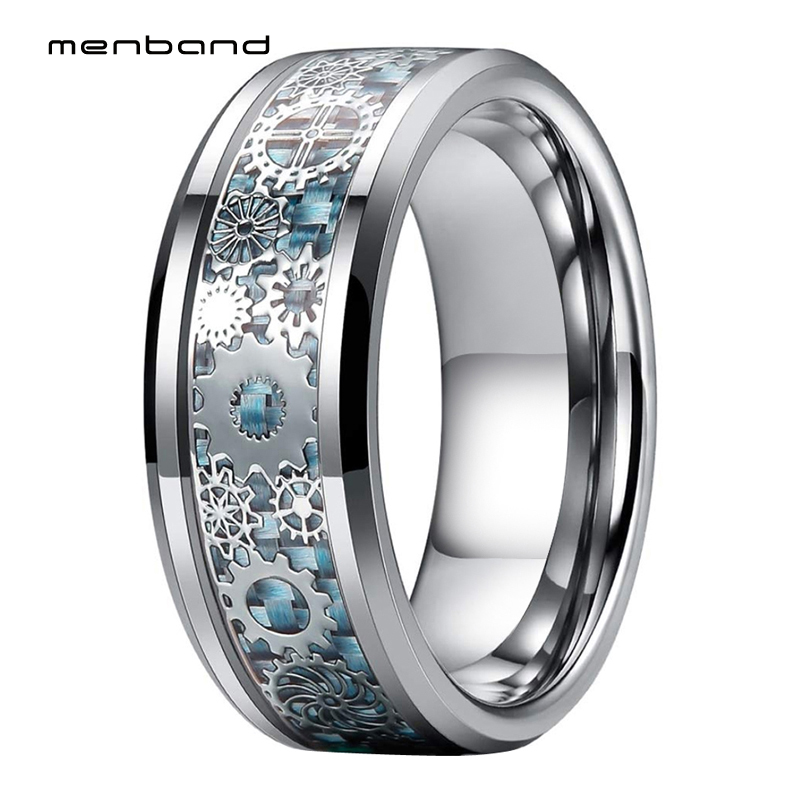 Men Women Tungsten Wedding Band With Mechanical Gear Wheel And Light Blue Carbon Fiber Inlay 8MM Ring Box Available|Wedding Bands|   - AliExpress
