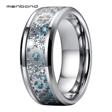 Men Women Tungsten Wedding Band With Mechanical Gear Wheel And Light Blue Carbon Fiber Inlay 8MM Ring Box Available
