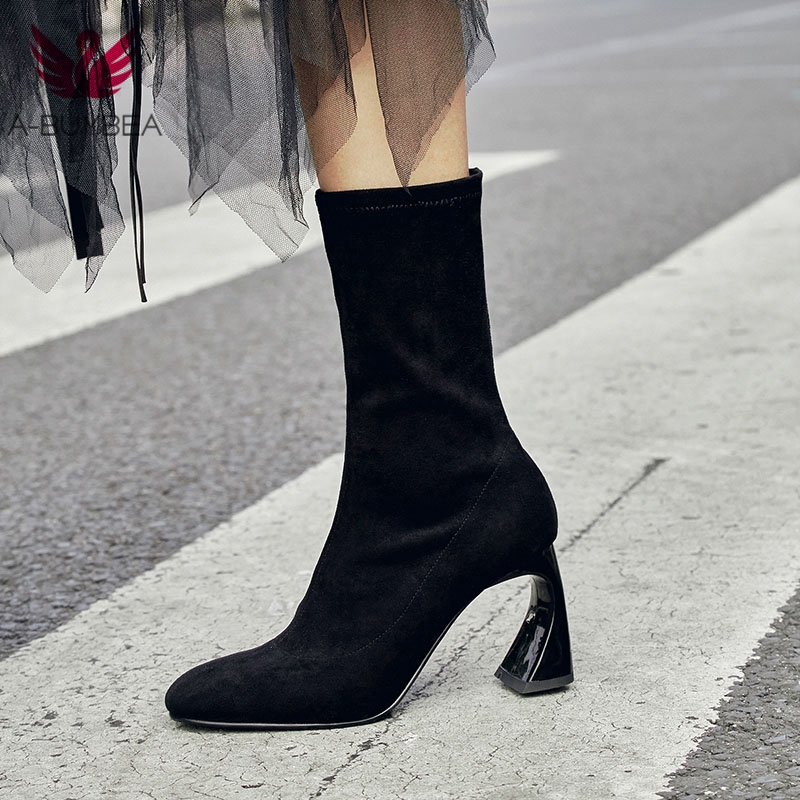 Stretch Fabric Suede Women Ankle Boots Strange Heels Women Winter Shoes Fashion Lace Up Round Toe Ladies High Heels Short Boots