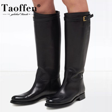 TAOFFEN Plus Size 34-45 Women Knee High Boots Real Leather Plush Fur Woman  Long Boots Fashion Shoes Woman Warm Daily Footwear