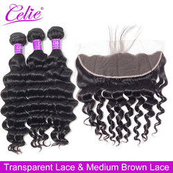 Celie hair Loose Deep Wave Bundles With Frontal Remy Brazilian Human Hair Weave Bundle With HD Transparent Lace Frontal Closure