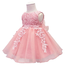 Newborn Baby Girls Dress for Wedding Baby Show Floral Embroi