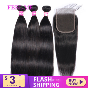 Brazilian Straight Hair Bundles With Closure 4x4 100% Human Hair Bundles With Closure Remy Hair Weave 3/4 Bundles With Closure
