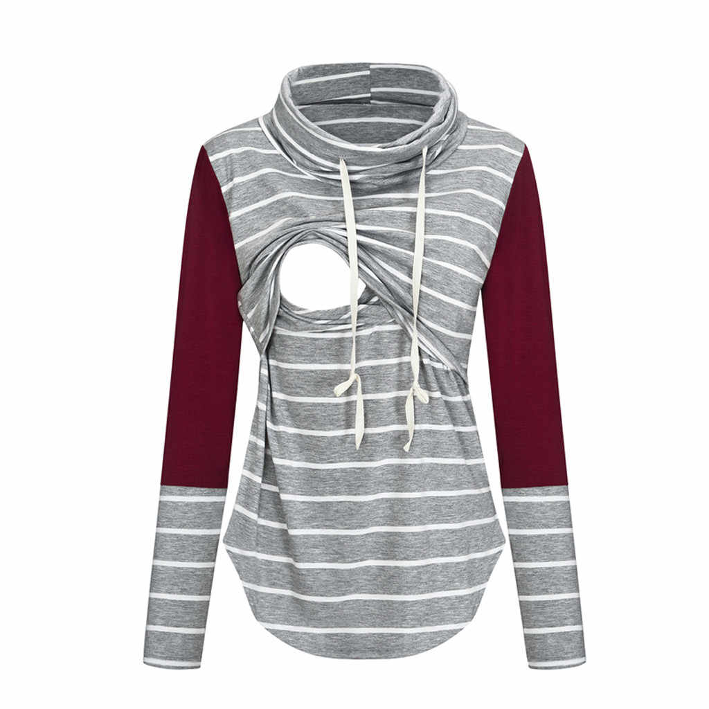 Women Maternity Breastfeeding Clothes Autumn Long Sleeve Striped Nursing Top Casual Breastfeeding Pregnant T-Shirt Clothes
