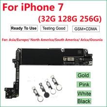 Placa base para iPhone 7 con/sin id táctil, placa lógica iCloud desbloqueada 100% Original (A1660,A1778) 4G GSM ,32GB 128GB