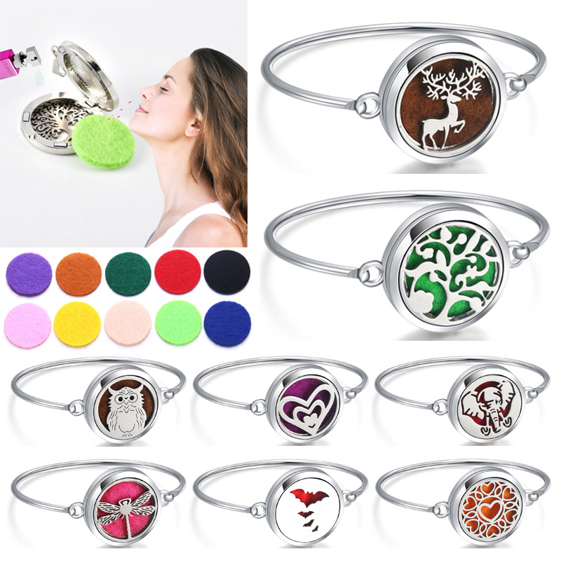 Perfume Bracelet Essential Oil Diffuser Aromatherapy Locket Tree of Life 316L Stainless Steel