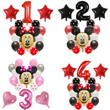 14 Buah Selamat Ulang Tahun Dekorasi Balon LaTeX Mickey Minnie Mouse Jantung Foil Ballon Baby Shower Nomor Balon Udara Globos(China)