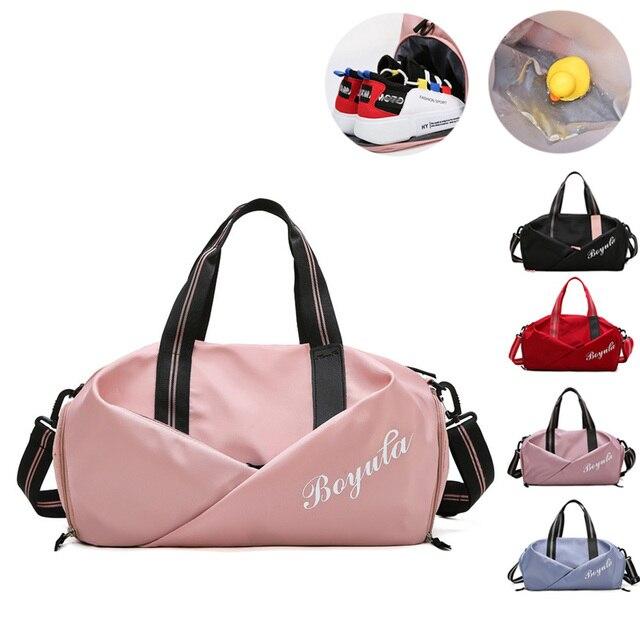 נשים חדר כושר תיק ספורט כושר תיק אימון שקיות עבור נעלי נסיעות יבש ורטוב יוגה מחצלת מבוי ספורט המוצ ילה sporttas