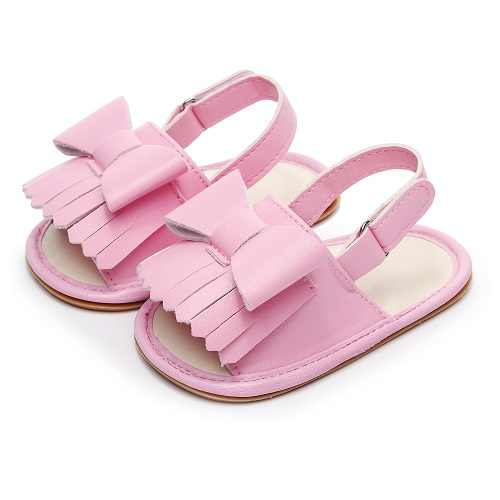 Summer baby girls sandals with rubber sole cute bow fringe Toddler Casual Crib Shoes 2020 New kids sandals Nonslip