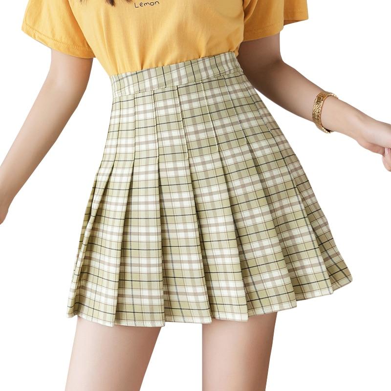 New Summer Skirt High Waist Women Plaid Skirt Preppy Style School Uniforms Harajuku Fashion Pleated Skirt Dance Skirt XS-XXL