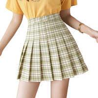 Novo verão saia de cintura alta feminina xadrez saia estilo preppy uniformes escolares harajuku moda saia plissada dança saia XS-XXL