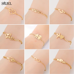 SMJEL Heart Jewelry Stainless Steel Bracelets for Women Fashion Love Heart Charm Bracelet Friendship brazalete Accessories 2020