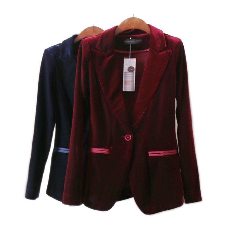 High Quality 2020 New Velvet Women Blazer Black Blue Elegant Lady Blazers Suits Plus Size Long Sleeve Slim Office Suit Jackets