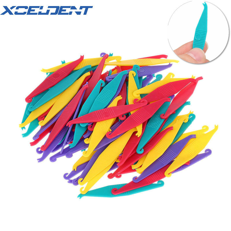 100 Pcs Orthodontic Elastic Placer For Braces Disposable Elastic Rubber Band Placers Mix Color Dentistry Tools