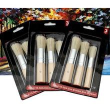 Oil-Painting Stencil-Brush Acrylic Natural Round Bristle Wooden Pure-Hog 3pcs/Set