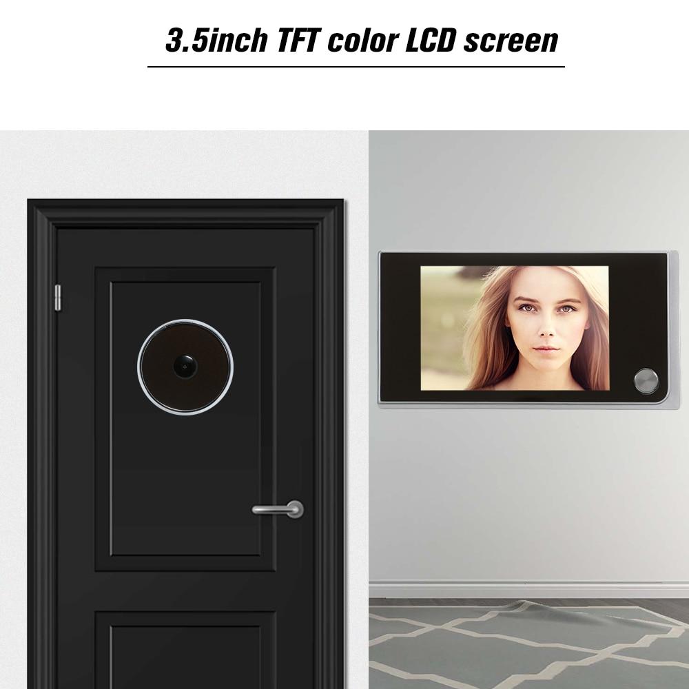Камера для входной двери 3,5 дюйма, цветной экран с электронным дверным звонком, светодиодный осветительный прибор для просмотра видео и дверей, система домашней безопасности|Дверной звонок|   | АлиЭкспресс