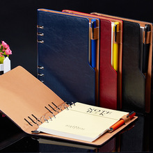 A5 B5 Leather Cover Notebook Spiral Agenda Personal Diary Binder Pocket Organizer Journal Writing For Boys Girls Stationery Gift