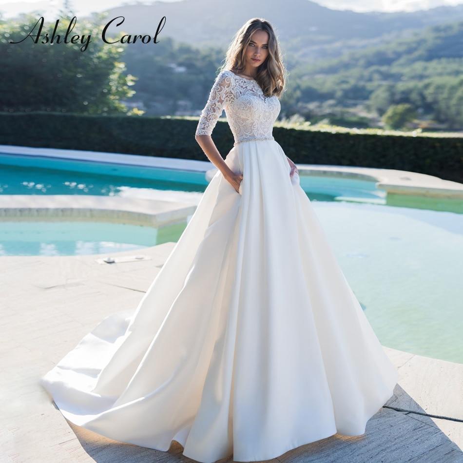 Ashley Carol Romantic Scoop Soft Satin Princess Wedding Dress 2019 Half Sleeve Crystal Vintage Wedding Gowns Vestido De Novia