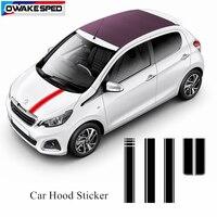 Listras de esporte colorido carro capô adesivo corrida estilo automóvel capô capa do motor decoração adesivos para peugeot 108|Adesivos para carro| |  -