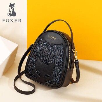 Foxer Girl's Mini Crossbody Bag Qute Girl's Totes High Qulity Fashion Women Bag Glitter Cowhide Mini Shining Party Shoulder Bag