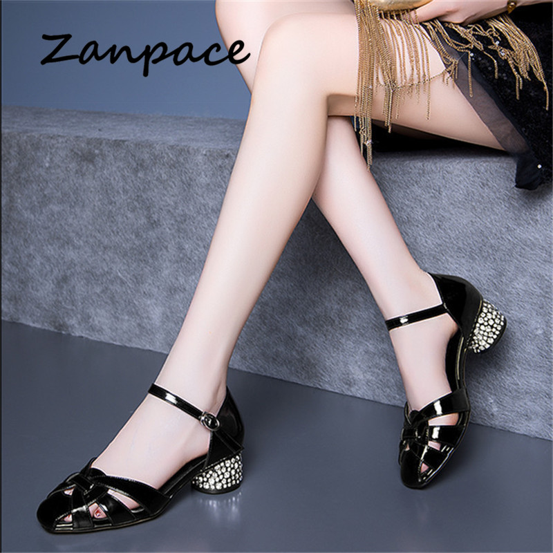 2019 New Hollow Sandals Women Thick With Rhinestones Word Buckle Shoes Casual Large Size 41 Summer Fashion High Heel Sandals