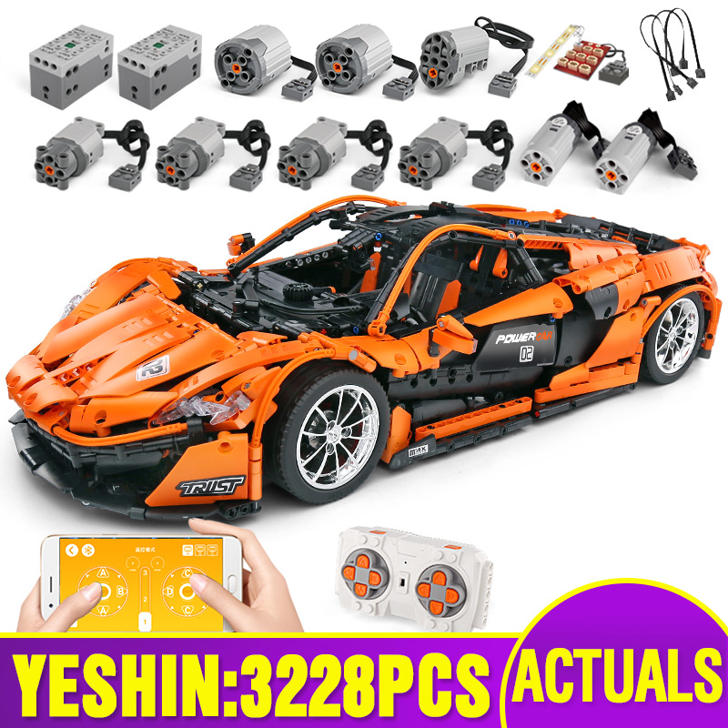 Lepining 20087 RC Technic Car Compatible With MOC-16915 McLaren P1 Motor Function Car Building Blocks Bricks Kids Christmas Toys