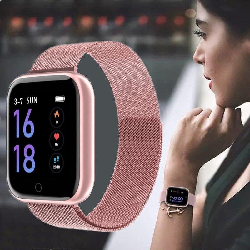 Mesure de la pression artérielle montre intelligente femmes Android Ios Compatible hommes Fitness Tracker avec batterie longue durée rose livraison directe