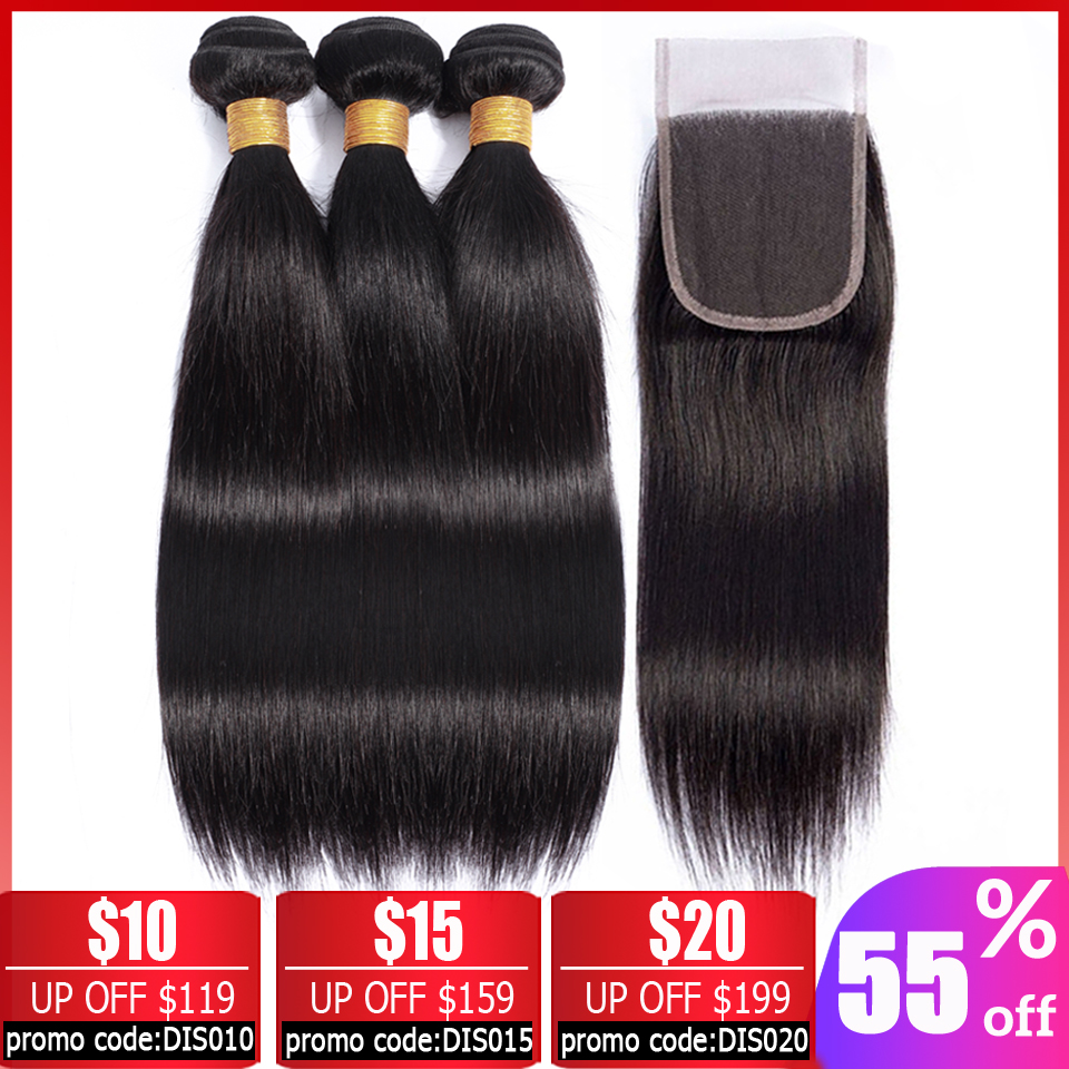 Beauty Grace Peruvian Hair Bundles With Closure 28 30 Inch Non-Remy Human Hair 3 Bundles Straight Hair Bundles With Closure